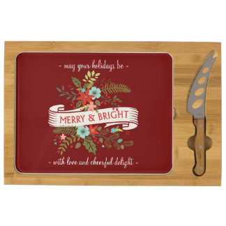 Merry and Bright Christmas Floral Cheese Board Rectangular Cheeseboard