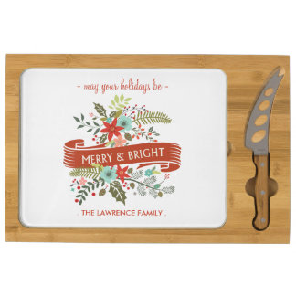 Merry and Bright Christmas Floral Cheese Board Rectangular Cheese Board