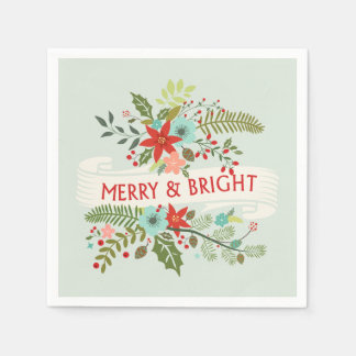 Merry and Bright Christmas Floral Holiday Napkins Paper Napkins