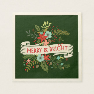 Merry and Bright Christmas Floral Holiday Party Napkin
