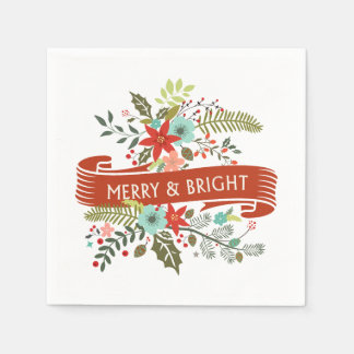 Merry and Bright Christmas Floral Holiday Party Paper Napkin