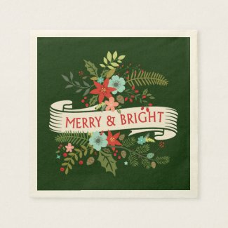 Merry and Bright Christmas Floral Holiday Party Disposable Napkin