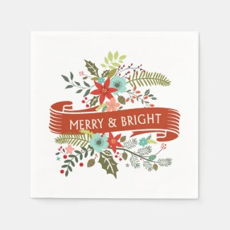 Merry and Bright Christmas Floral Holiday Party Disposable Napkins