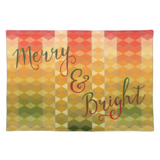 Merry and Bright Christmas Geometric Polygons Placemat