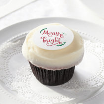 merry and bright Christmas Holiday Edible Frosting Rounds