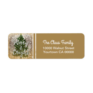 Merry and Bright Christmas Holiday Label