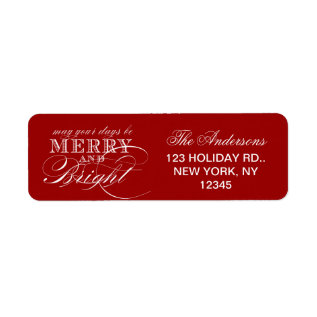 MERRY AND BRIGHT CHRISTMAS HOLIDAY LABEL at Zazzle