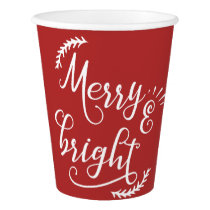 merry and bright Christmas Holiday Paper Cup