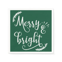 merry and bright Christmas Holiday Paper Napkin