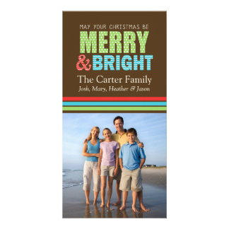 Merry and Bright Christmas Holiday Photo Card