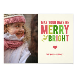 Merry and Bright Christmas Holiday Photo Card Cards