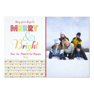 Merry and Bright Christmas holiday photo card Personalized Invitations