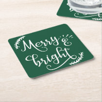 merry and bright Christmas Holiday Square Paper Coaster
