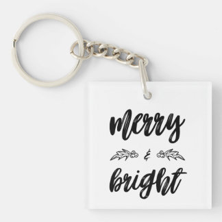 Merry and Bright Christmas Holly Keychain