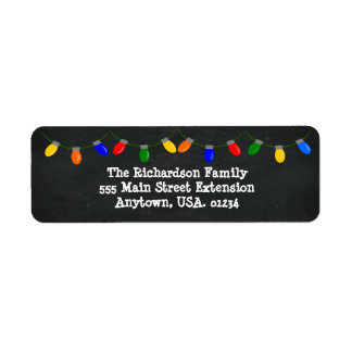 Merry and Bright Christmas Lights Chalkboard Label