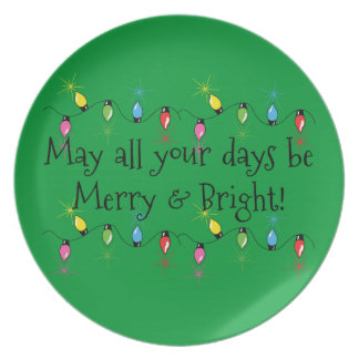 Merry and Bright Christmas Lights Plate