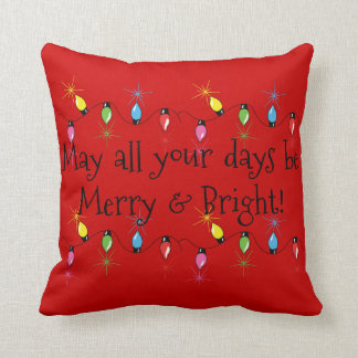 Merry and Bright Christmas Lights Throw Pillow