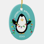 Merry and Bright Christmas Penguin in Blue Double-Sided Oval Ceramic Christmas Ornament