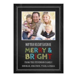 Merry and Bright Christmas Photo Card Chalkboard