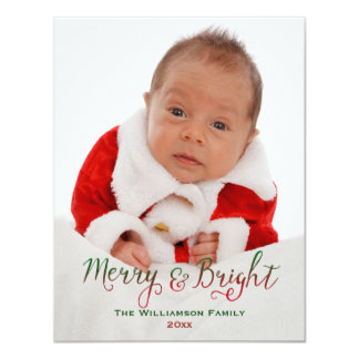 "Merry and Bright Christmas Photo Card 4.25"" X 5.5"" Invitation Card"