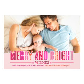 Merry and Bright Christmas Photo Card Red Pink