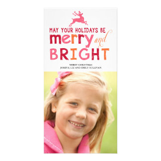Merry and Bright Christmas Photo Greeting Card