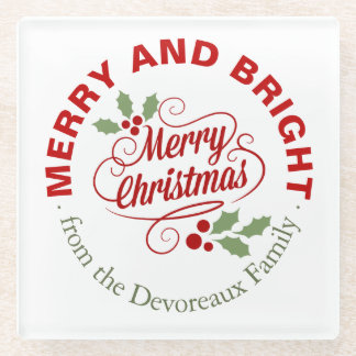 Merry and Bright Christmas Script Typography Glass Coaster