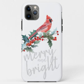 Merry and Bright Christmas Winter Holly Cardinal iPhone 11 Pro Max Case