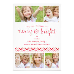 Merry and Bright Collage Holiday Photo Card - Red