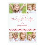 Merry and Bright Collage Holiday Photo Card - Red Invites