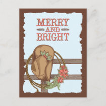 Merry And Bright Cowboy Hat with Holly Christmas Announcement Postcard