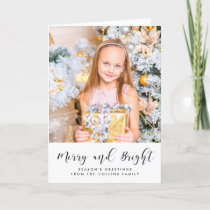 Merry and Bright elegant black font Holiday Card