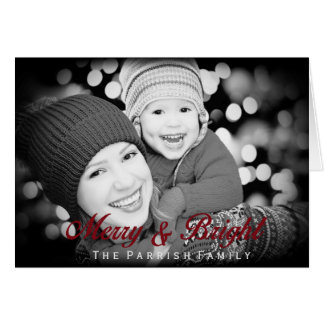 Merry and Bright Elegant Photo Christmas Card