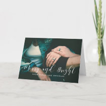 Merry and Bright elegant white font Holiday Card