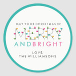 Merry and Bright Festive Christmas Tree Lights Classic Round Sticker