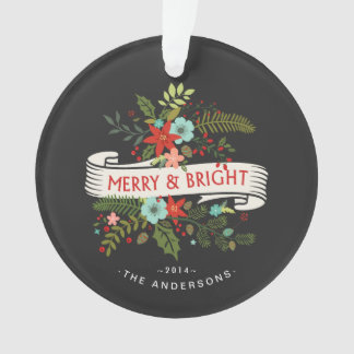 Merry and Bright Floral Chalkboard Family Photo