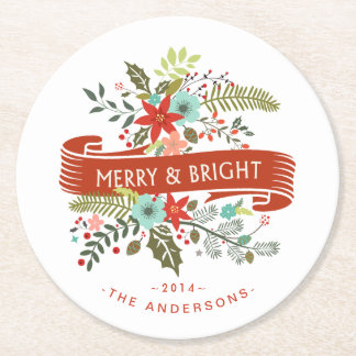 Merry and Bright Floral Christmas Cocktail Coaster
