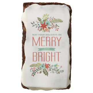 Merry and Bright Floral Christmas Holiday Brownies Brownie
