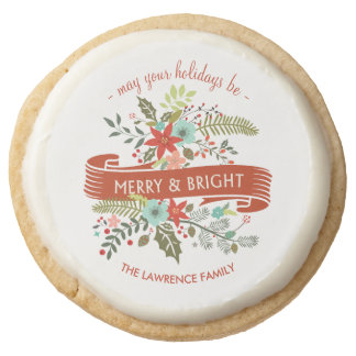 Merry and Bright Floral Christmas Holiday Cookies Round Premium Shortbread Cookie