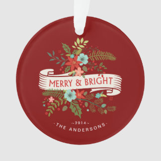 Merry and Bright Floral Holiday Family Photo
