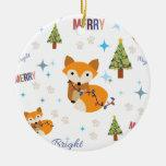 Merry and Bright Fox Ceramic Ornament
