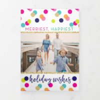 Merry and Bright Glitter Confetti Christmas Tri-Fold Holiday Card