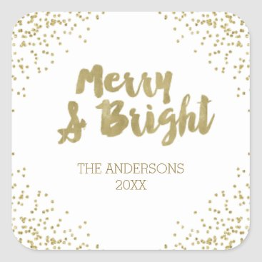 Christmas Themed Merry and Bright gold glitter Christmas Stickers