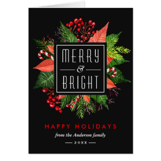 Merry and Bright Happy Holidays Christmas Flowers Card