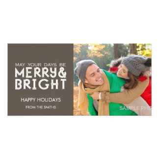 MERRY AND BRIGHT HAPPY HOLIDAYS PHOTO CARD TAUPE