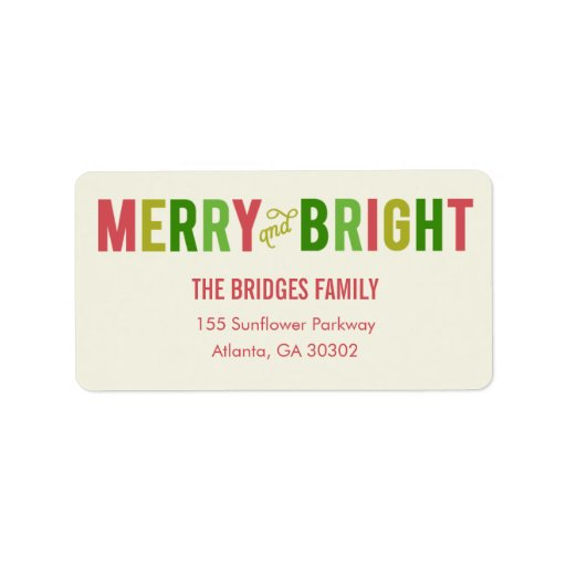 Merry and Bright Holiday Address Labels Personalized Address Label