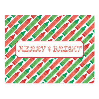 Merry and Bright Holiday Crayons Postcard
