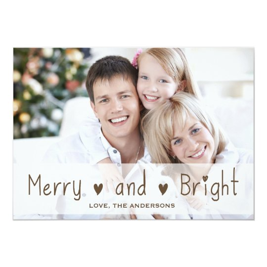 MERRY AND BRIGHT HOLIDAY GREETING PHOTO CARD