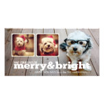 Merry and Bright Holiday Hipster Photo Collage Personalized Photo Card