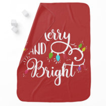 merry and bright holiday lights baby blanket